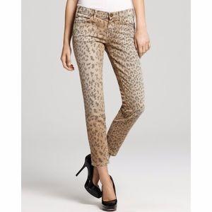 Current Elliott Camel Leopard Skinny Jeans